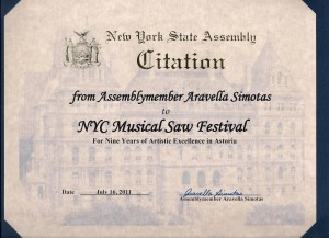 Citation of honor from NY State Assemblymember Aravella Simotas
